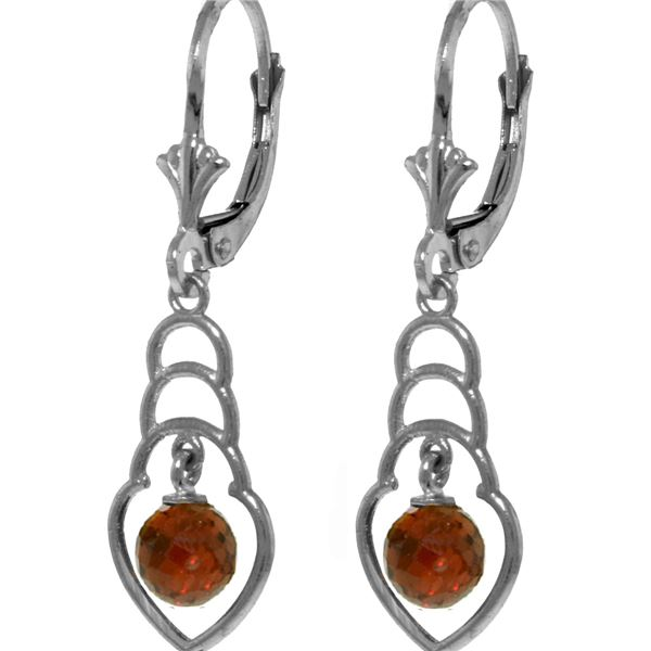 Genuine 1.25 ctw Garnet Earrings 14KT White Gold - REF-25A6K