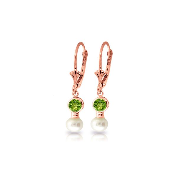 Genuine 5.2 ctw Peridot & Pearl Earrings 14KT Rose Gold - REF-35T9A