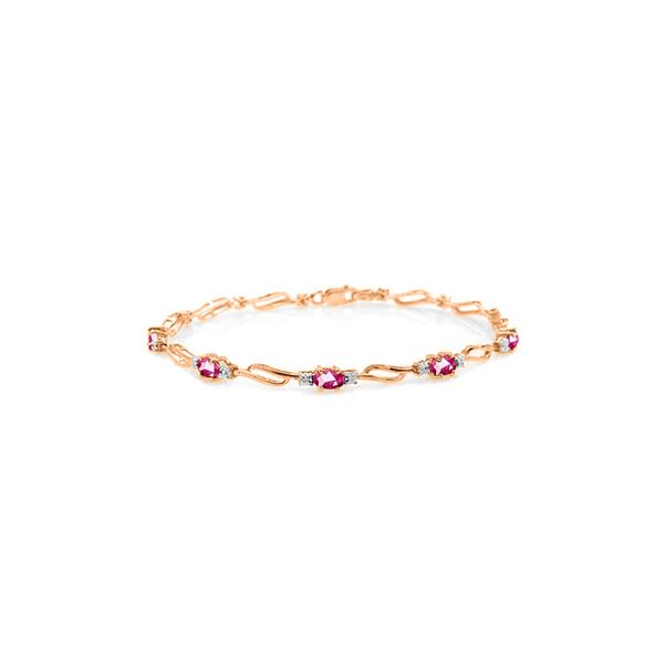 Genuine 3.39 ctw Pink Topaz & Diamond Bracelet 14KT Rose Gold - REF-82Z5N