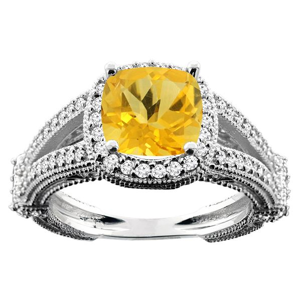 4.10 CTW Citrine & Diamond Ring 14K White Gold - REF-55W3F