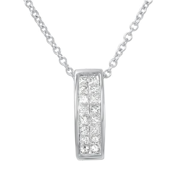 Natural 0.25 CTW Princess Diamond Necklace 14K White Gold - REF-35K3R