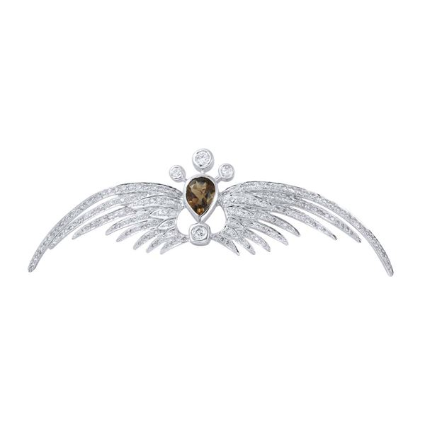 Natural 4.21 CTW Smoky Topaz & Diamond Brooch 18K White Gold - REF-261W2H