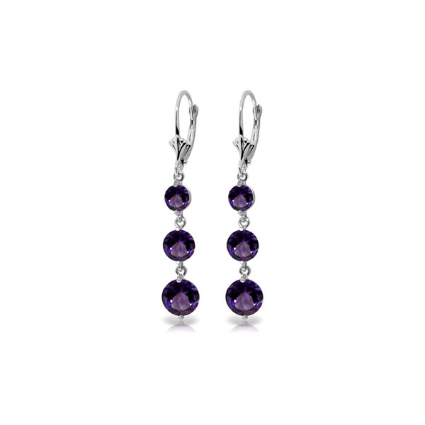 Genuine 7.2 ctw Amethyst Earrings 14KT White Gold - REF-42N6R