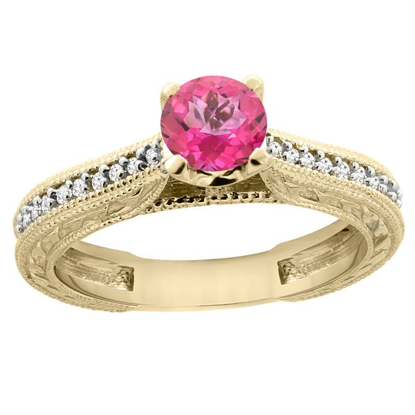 0.71 CTW Pink Topaz & Diamond Ring 14K Yellow Gold - REF-53R2H