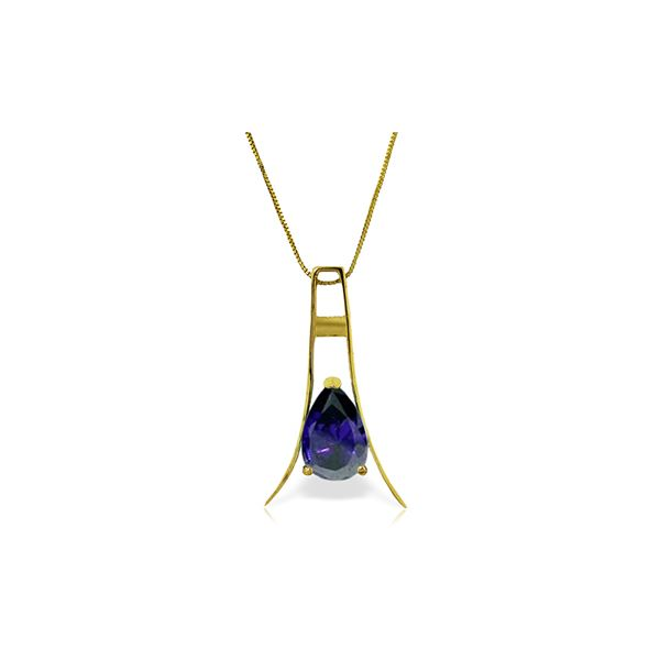 Genuine 1.50 ctw Sapphire Necklace 14KT Yellow Gold - REF-39Y4F