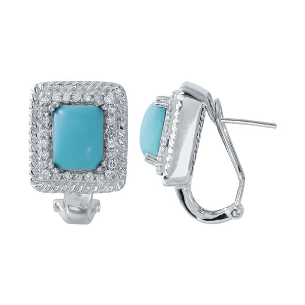 Natural 4.91 CTW Turquoise & Diamond Earrings 14K White Gold - REF-122W4H