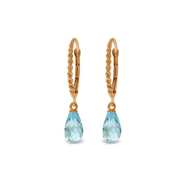 Genuine 3 ctw Blue Topaz Earrings 14KT Rose Gold - REF-24F3Z