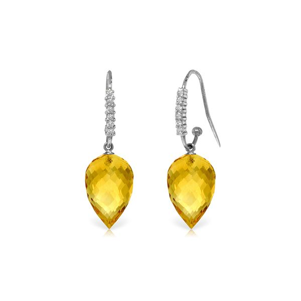Genuine 19.18 ctw Citrine & Diamond Earrings 14KT White Gold - REF-52Z9N