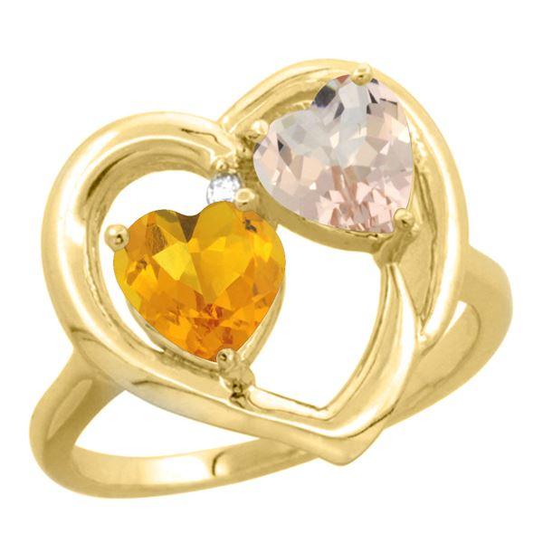 1.91 CTW Diamond, Citrine & Morganite Ring 10K Yellow Gold - REF-26N5Y