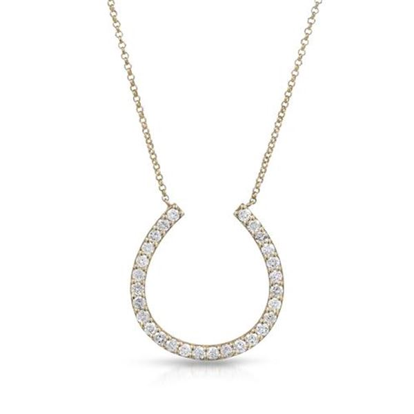 Natural 0.75 CTW Diamond Necklace 14K Yellow Gold - REF-90K9R