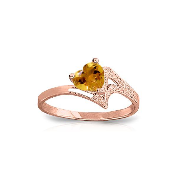 Genuine 0.95 ctw Citrine Ring 14KT Rose Gold - REF-36V3W