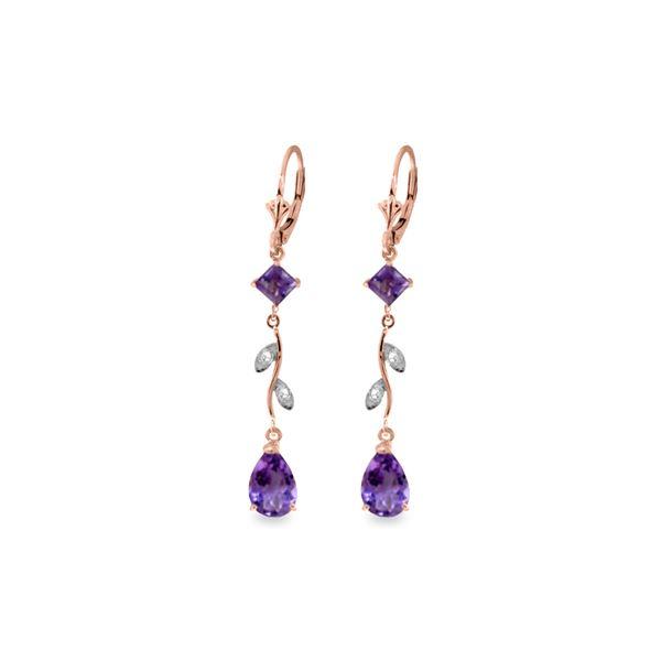 Genuine 3.97 ctw Amethyst & Diamond Earrings 14KT Rose Gold - REF-44Y9F