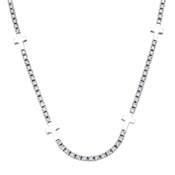 Natural 3.08 CTW Diamond Necklace 18K White Gold - REF-246F6M