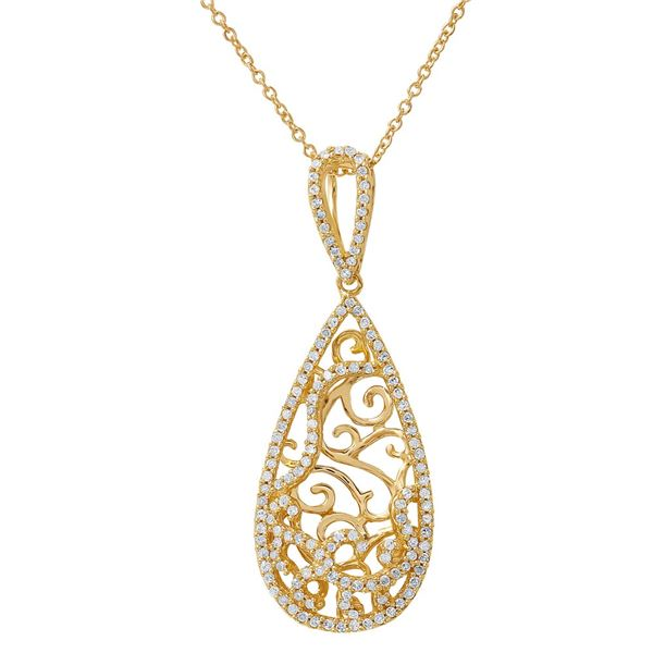 Natural 0.48 CTW Diamond Necklace 14K Two Tone Yellow Gold - REF-54K2R