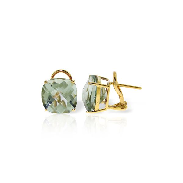 Genuine 7.2 ctw Green Amethyst Earrings 14KT Yellow Gold - REF-46M5T