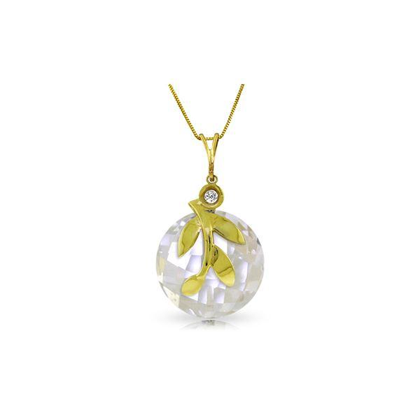 Genuine 5.32 ctw White Topaz & Diamond Necklace 14KT Yellow Gold - REF-31F2Z