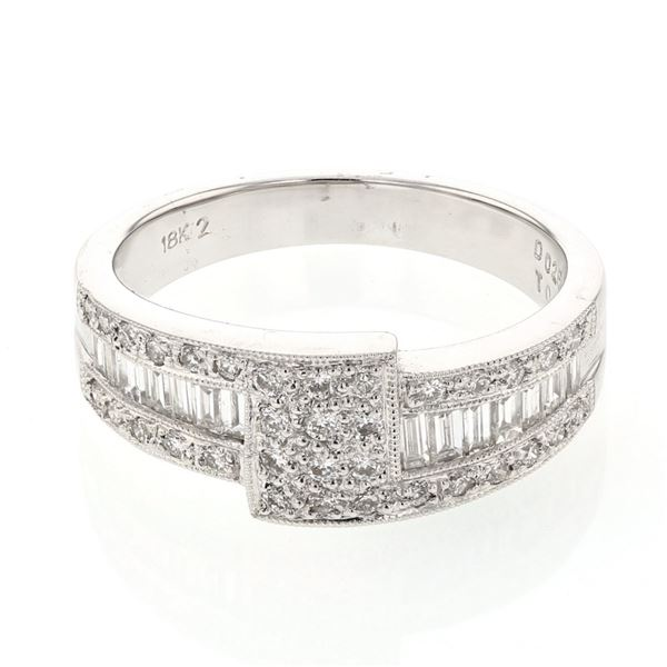 Natural 0.67 CTW Baguette & Diamond Ring 18K White Gold - REF-112F5M