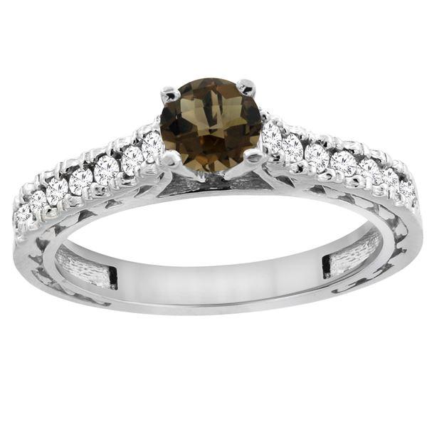 0.86 CTW Quartz & Diamond Ring 14K White Gold - REF-62M4A