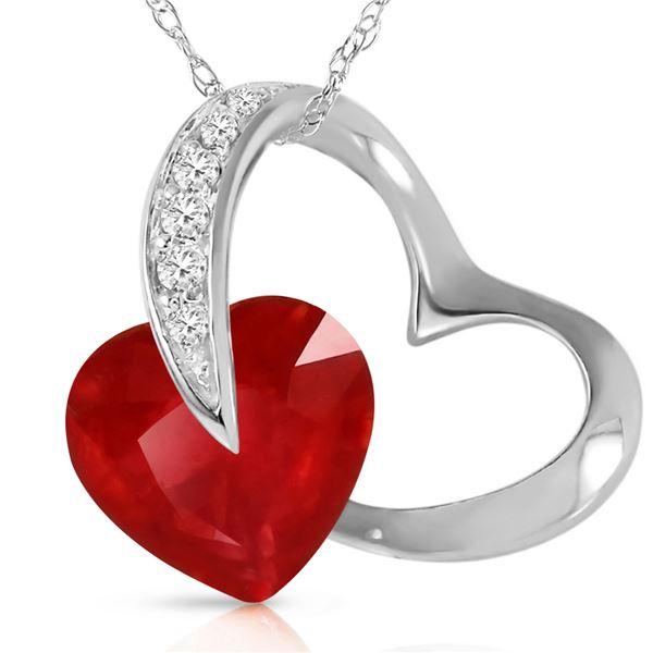 Genuine 4.4 ctw Ruby & Diamond Necklace 14KT White Gold - REF-71Y9F