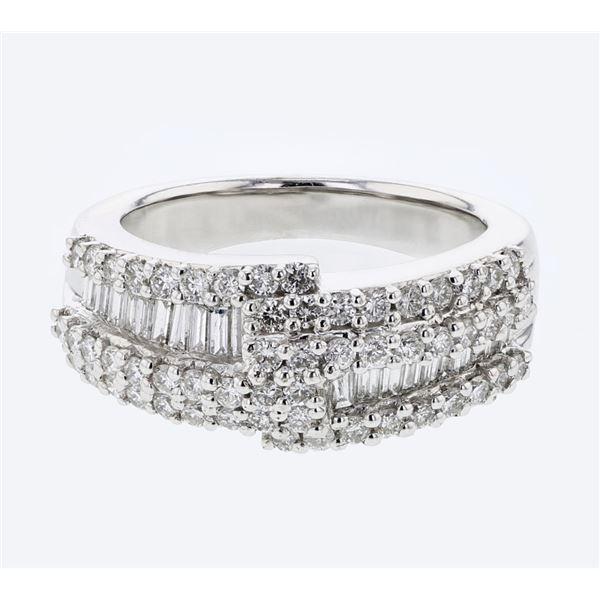 Natural 1.23 CTW Diamond & Baguette Ring 18K White Gold - REF-199K8R