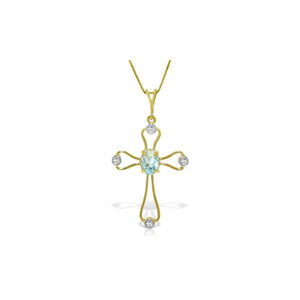 Genuine 0.57 ctw Aquamarine & Diamond Necklace 14KT Yellow Gold - REF-42R2P