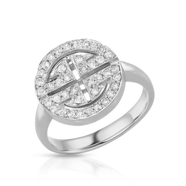 Natural 0.41 CTW Diamond Ring 14K White Gold - REF-68F4M