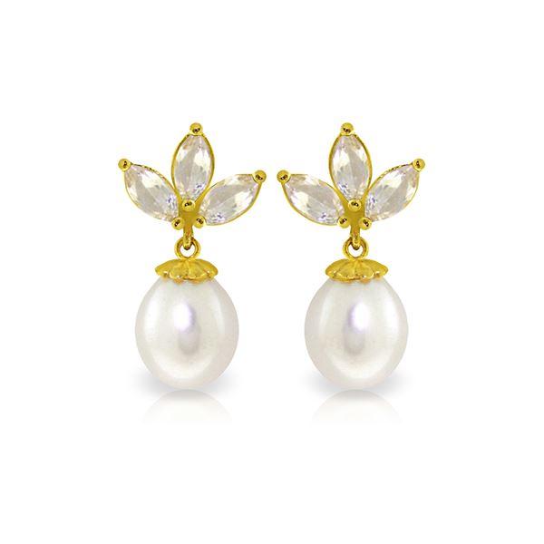Genuine 9.5 ctw White Topaz & Pearl Earrings 14KT Yellow Gold - REF-31Z2N