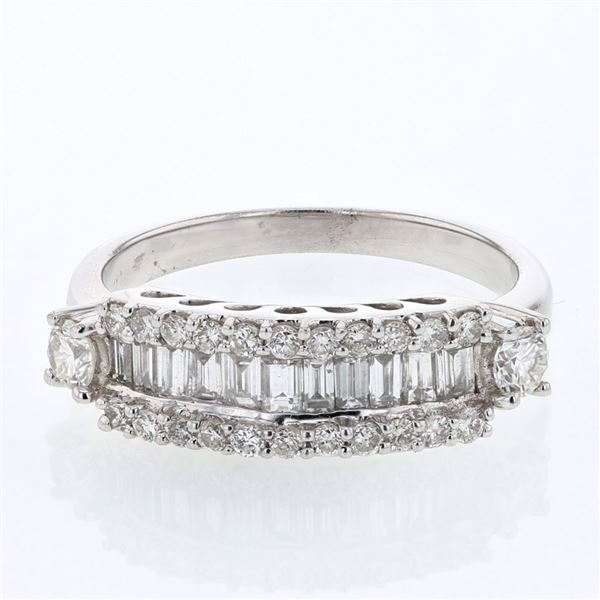 Natural 0.97 CTW Baguette & Diamond Ring 14K White Gold - REF-121T5X
