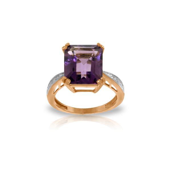 Genuine 5.62 ctw Amethyst & Diamond Ring 14KT Rose Gold - REF-82N9R