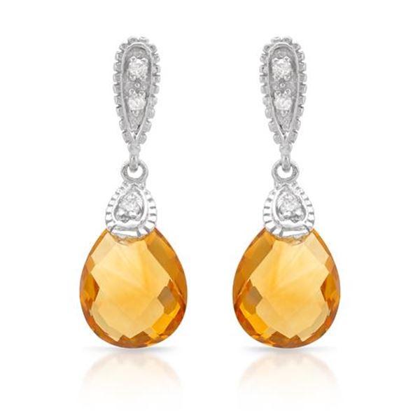 Natural 4.60 CTW Citrine & Diamond Earrings 14K White Gold - REF-42N3Y