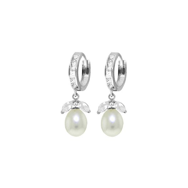 Genuine 10.30 ctw White Topaz & Pearl Earrings 14KT White Gold - REF-56F7Z