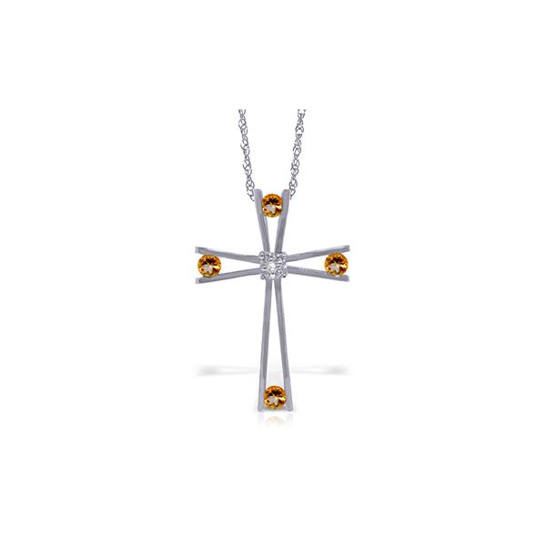 Genuine 0.43 ctw Citrine & Diamond Necklace 14KT White Gold - REF-76T7A