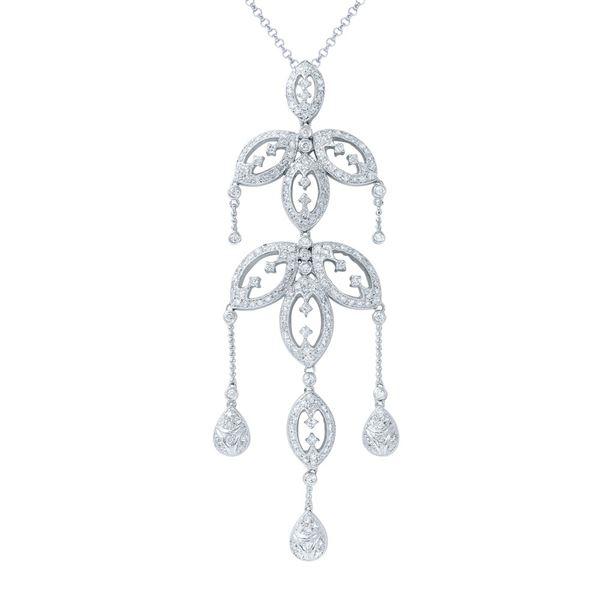Natural 2.08 CTW Diamond Necklace 18K White Gold - REF-289F8M