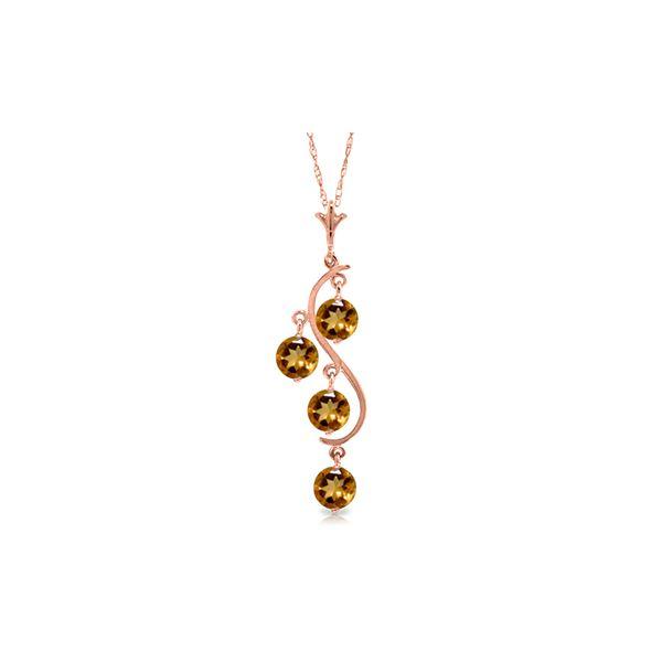 Genuine 2.25 ctw Citrine Necklace 14KT Rose Gold - REF-30M2T