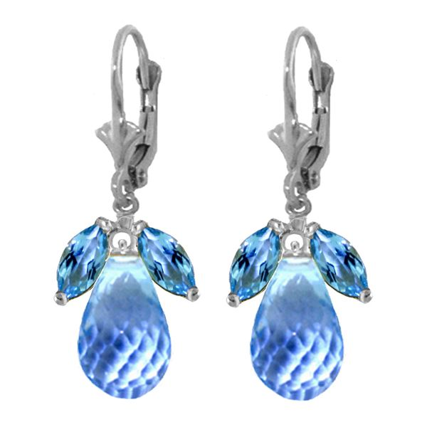 Genuine 14.4 ctw Blue Topaz Earrings 14KT White Gold - REF-46N7R