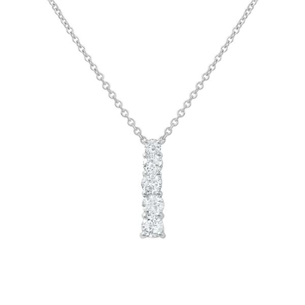 Natural 0.50 CTW Diamond Necklace 14K White Gold - REF-56T7X