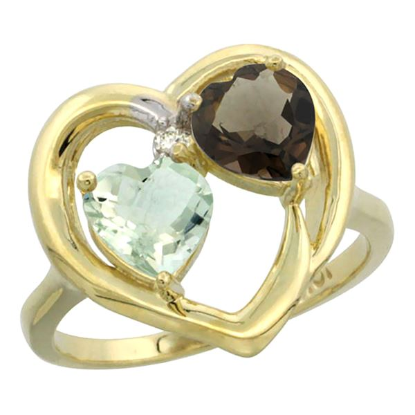 2.61 CTW Diamond, Amethyst & Quartz Ring 14K Yellow Gold - REF-33H9M