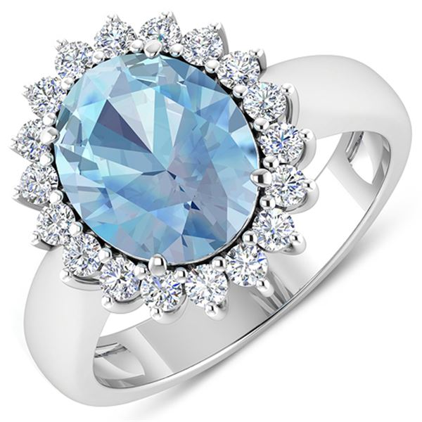 Natural 3.24 CTW Aquamarine & Diamond Ring 14K White Gold - REF-123X3K