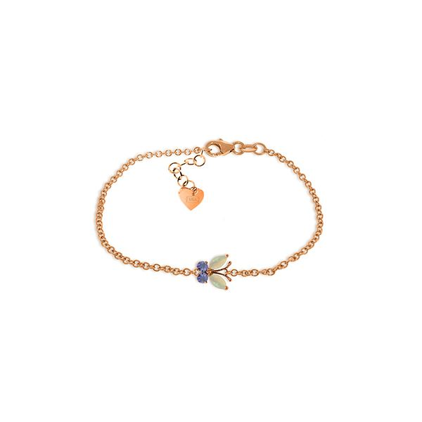 Genuine 0.60 ctw Opal & Tanzanite Bracelet 14KT Rose Gold - REF-44W3Y