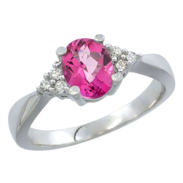1.06 CTW Pink Topaz & Diamond Ring 14K White Gold - REF-36R9H