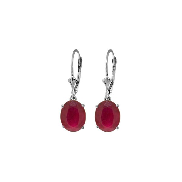 Genuine 7 ctw Ruby Earrings 14KT White Gold - REF-64M6T