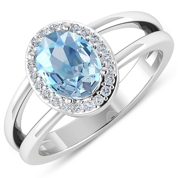 Natural 1.62 CTW Aquamarine & Diamond Ring 14K White Gold - REF-66W9X