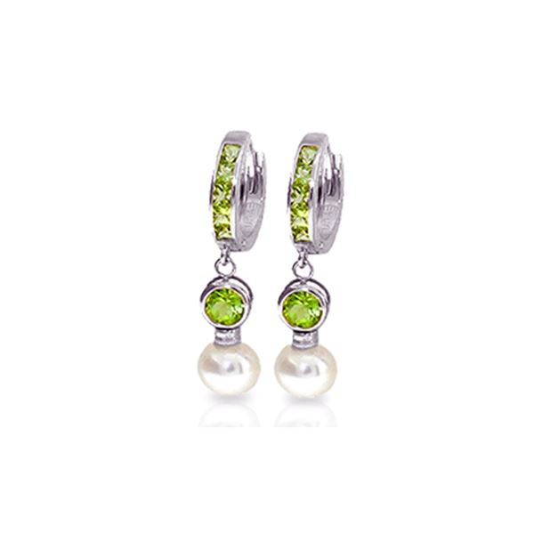 Genuine 4.3 ctw Peridot & Pearl Earrings 14KT White Gold - REF-48X3M