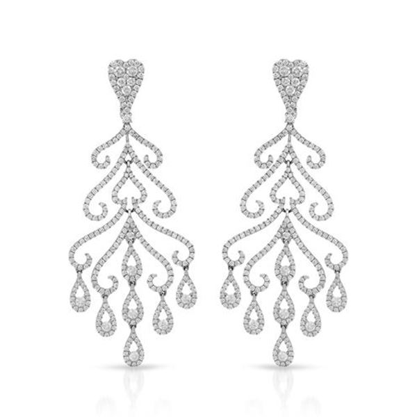 Natural 5.11 CTW Diamond Earrings 14K White Gold - REF-670W5H