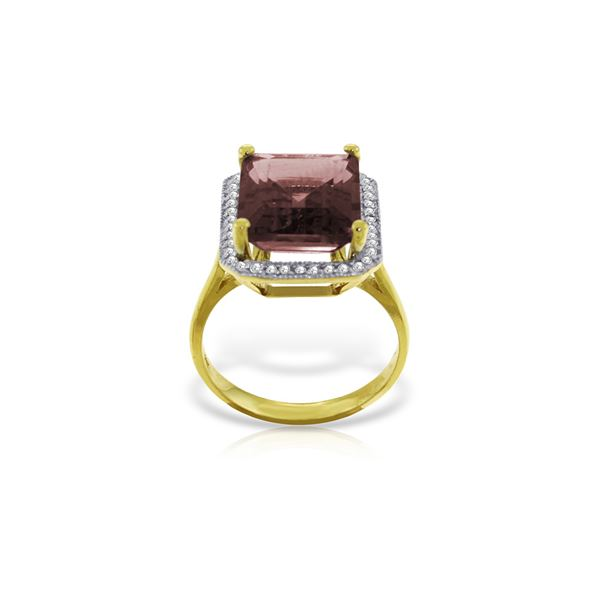 Genuine 7.7 ctw Garnet & Diamond Ring 14KT Yellow Gold - REF-84V3W