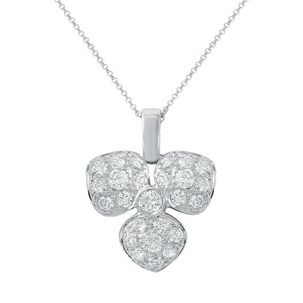 Natural 1.06 CTW Diamond Pendant 18K White Gold - REF-135K2R