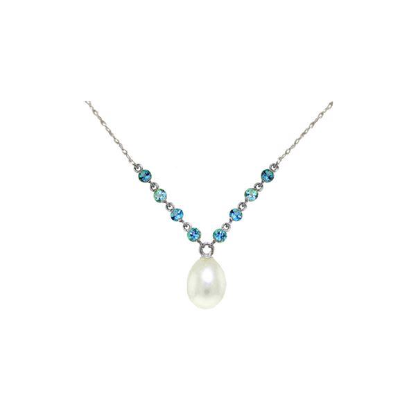 Genuine 5 ctw Blue Topaz Necklace 14KT White Gold - REF-25T4A
