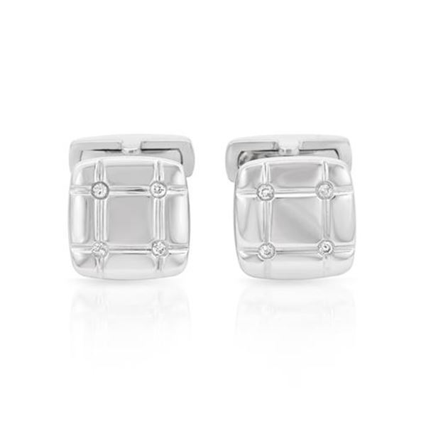 Natural 0.14 CTW Diamond Cuff Links 14K White Gold - REF-99F9M
