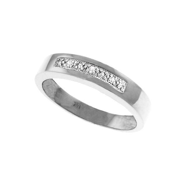 Genuine 0.02 ctw Diamond Anniversary Ring 14KT White Gold - REF-46M2T