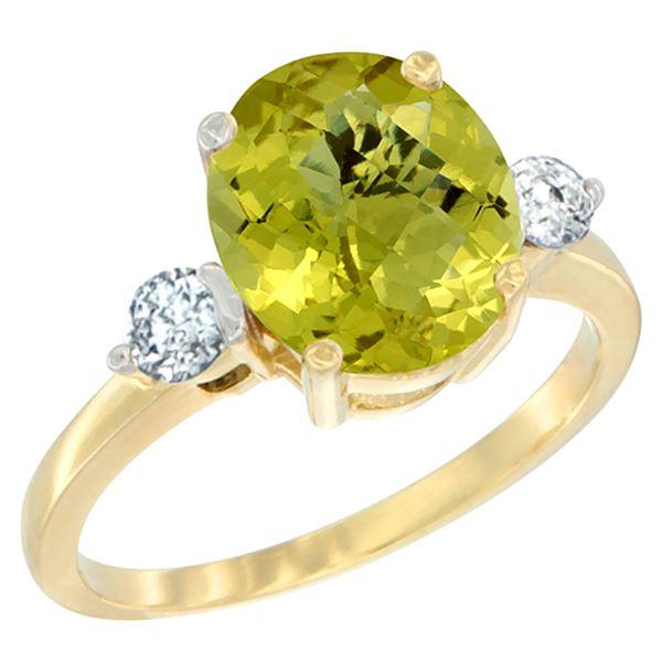 2.60 CTW Lemon Quartz & Diamond Ring 14K Yellow Gold - REF-68F2N